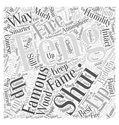 Fame from Feng Shui Word Cloud Concept vector