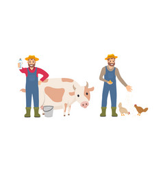 Farmer with milk package set vector