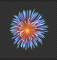Festive fireworks with blue and orange sparkles vector