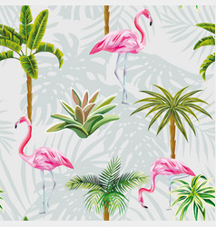 flamingo palm trees cactus seamless grey vector image