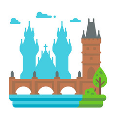 Flat design charles bridge prague vector