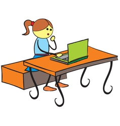 Girl using laptop vector image