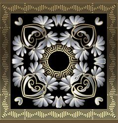 Greek floral 3d mandala seamless pattern vector