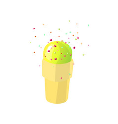 green ice cream cartoon icon vector image