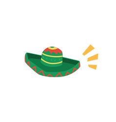 Green mexican sombrero isolated on white vector