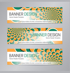 green orange web header abstract banner vector image