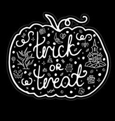 greeting card happy halloween with pumpkin vector image