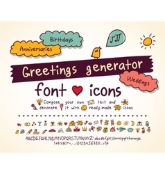 Greetings doodles set hand drawn script and icons vector