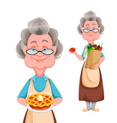 happy grandparents day cheerful grandmother vector image