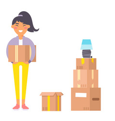 Happy young woman flat people moving in new vector