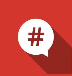 Hashtag in circle icon isolated with long shadow vector