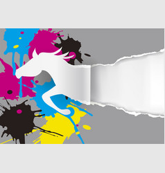 Horse ripping paper with ink splatters blots vector