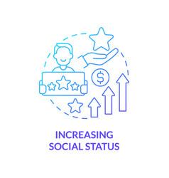 Increasing social status blue gradient concept vector