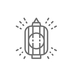 japanese lantern traditional lamp line icon vector image