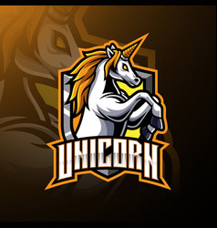 Jumping unicorn mascot logo design vector