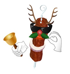 Kebab Reindeer with bell and holly berry vector