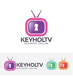 keyhole television logo design vector image