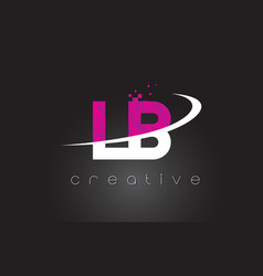 Lb l b creative letters design with white pink vector