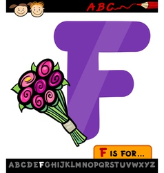 letter f with flowers cartoon vector image