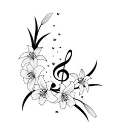 Lily treble clef and butterflies vector