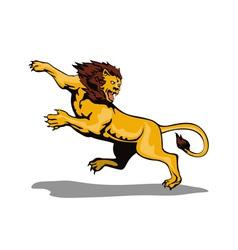 Lion Big Cat Attacking Retro vector