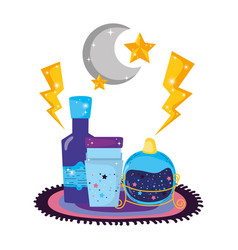 Magic potion bottles with moon vector