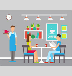 man and woman in cafeteria coffeehouse vector image
