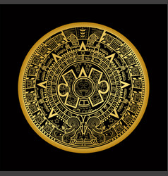 Mayan aztec calender on black back vector