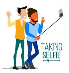 men taking selfie laughing photo portrait vector image