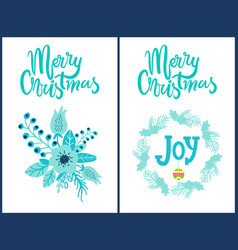 merry christmas stickers set vector image