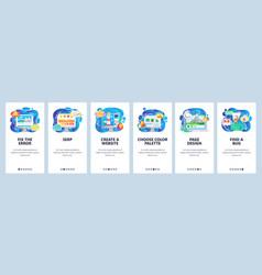 mobile app onboarding screens software vector image