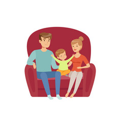mom dad and their little son sitting on the sofa vector image