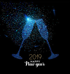 new year 2019 blue glitter glass toast card vector image