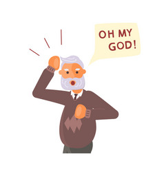 old man exclaim in surprise vector image