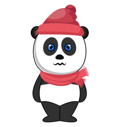 panda with hat and scarf on white background vector image