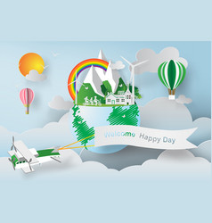 paper art of world environment day earth globe vector image