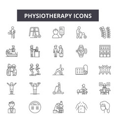 Physiotherapy line icons signs set vector