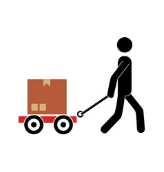 pictogram of man and hand truck and packages vector image