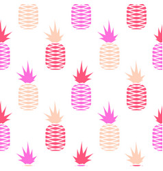 pink pineapple seamless fruit pattern vector image