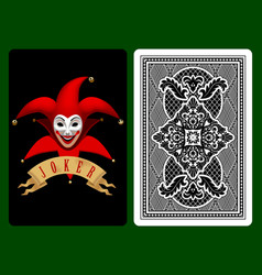 Red joker playing card vector