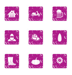 Redneck icons set grunge style vector