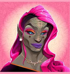 Reptilian drag queen called dragah vector