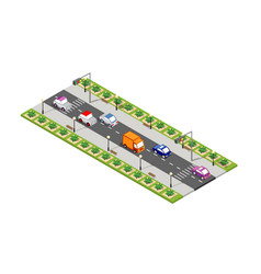 road isometric 3d city vector image