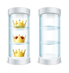 Round Glass Showcase with Shelves and Crowns vector image