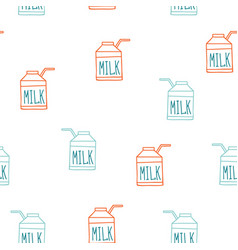 Seamless background pattern with milk carton cute vector
