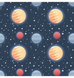 Seamless flat space pattern with planets and stars vector image