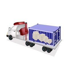 Semi-Trailer Loading Wooden Crates in Container vector