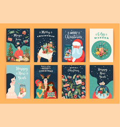 set christmas and happy new year vector image
