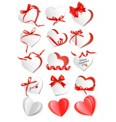 set gift cards with red gift bows and hearts vector image