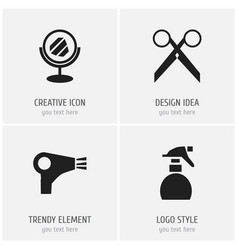 set of 4 editable barbershop icons includes vector image